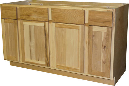Quality one 60 x 34 1 2 unfinished hickory sink base cabinet with 2 active drawers at menards for Unfinished bathroom vanities menards