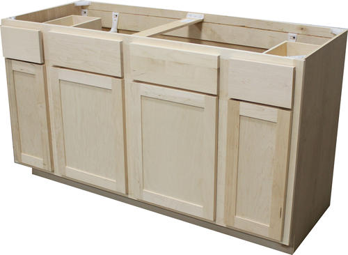 Quality One 60 X 34 1 2 Unfinished Maple Sink Base Cabinet With 2 Active Drawers At Menards