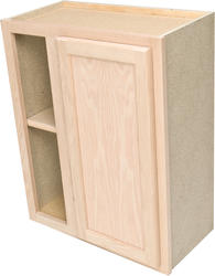 "Quality One™ 24"" x 30"" Unfinished Oak Reversible Blind Corner Wall Cabinet"