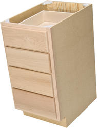 "Quality One™ 15"" x 34-1/2"" Unfinished Oak 4-Drawer Base Cabinet"