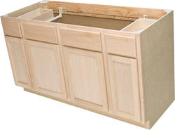 "Quality One™ 60"" x 34-1/2"" Unfinished Oak Sink Base / Cooktop Cabinet With 2 Active Drawers"