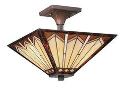 "Patriot Lighting® Craftsman 14"" Russet 2-Light Semi-Flush Mount Ceiling Light"
