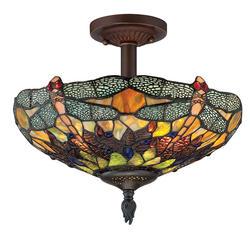"""Patriot Lighting® Elegant Home Dragonfly 14"""" Russet 2-Light Semi-Flush Mount Ceiling Light"""