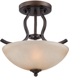 "Patriot Lighting® Maleah 13-1/2"" Bronze 2-Light Semi-Flush Mount Ceiling Light"