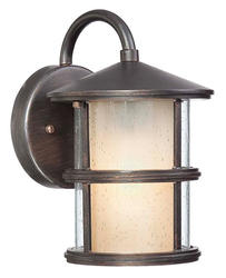 "Patriot Lighting® Glass-N-Glass 10"" Espresso 1-Light Outdoor Wall Light"