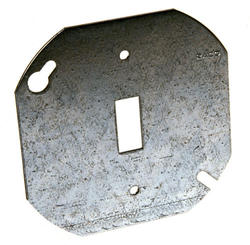 """4"""" Flat Octagon Box Cover, One Toggle Switch"""