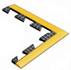 "Ultra-Dome Interlock Rubber Anti-Fatigue Mat Corner Piece 18"" x 18"""