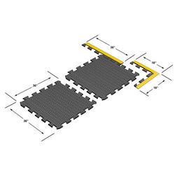 "Ultra-Dome Modular Drain-Thru Rubber Anti-Fatigue Mat 3' x 3' x 3/4"""