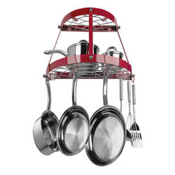 "Range Kleen 24"" x 12.5"" Red Wall Mount Pot Rack"
