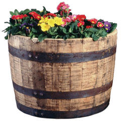 Half Oak Barrel Planter