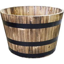 Real Wood Whiskey Style Half Barrel Planter