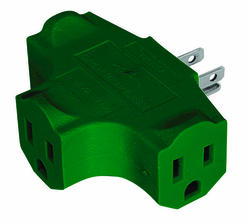 Smart Electrician 3 Outlet, Grounded, Green Triple-Tap Adapter