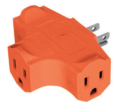 Smart Electrician 3 Outlet, Grounded, Orange Triple-Tap Adapter