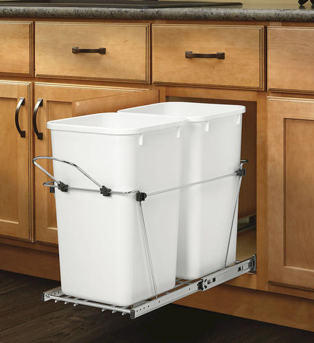 Rev A Shelf 174 White Double Waste Containers 27 Qt At