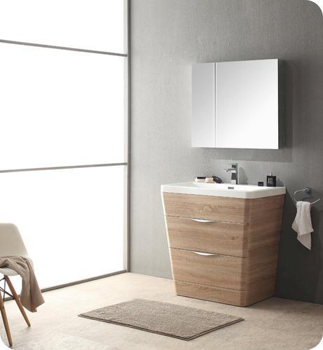 32 white oak modern bathroom vanity w medicine cabinet at menards