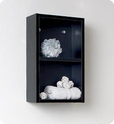 Fresca Black Bathroom Linen Side Cabinet w/ 2 Open Storage Areas