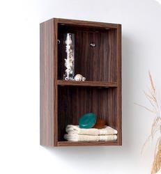 Fresca Walnut Bathroom Linen Side Cabinet w/ 2 Open Storage Areas