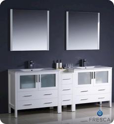"Fresca Torino 84"" White Modern Double Sink Bathroom Vanity w/ Side Cabinet & Undermount Sinks"