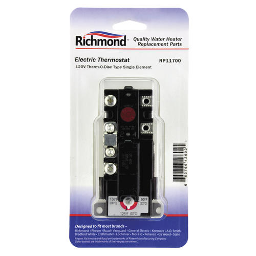 Richmond 120V Electric Single Element Thermostat for Water