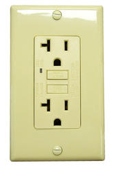 Smart Electrician 20-Amp Ivory GFCI Outlet with Wall Plate
