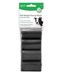 MP 120CT DISPENSER REFILL ROLLED PET WASTE BAGS, BLACK