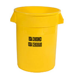 "BRUTE® 32 Gallon Container without Lid with ""USDA Condemned"" Black Imprint"