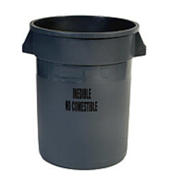 "BRUTE® 32 Gallon Container without Lid with ""Inedible"" Black Imprint"
