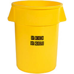 "BRUTE® 44 gallon Container without Lid with ""USDA Condemned"" Black Imprint"
