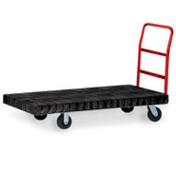 "Standard Platform Truck, 6"" Diameter x 2"" W Rubber Casters, Crossbar Handle"