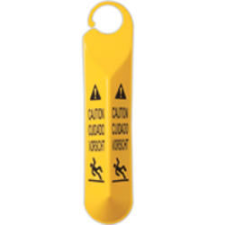"""Hanging Safety Sign with Multi-Lingual """"Caution"""" Imprint"""