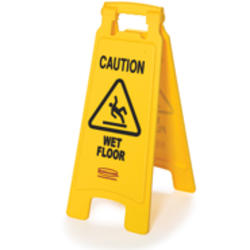"""Floor Sign with """"Caution Wet Floor"""" Imprint (2-Sided)"""