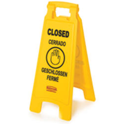 """Floor Sign with Multi-Lingual """"Closed"""" Imprint (2-Sided)"""