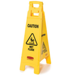 """Floor Sign with """"Caution Wet Floor"""" Imprint (4-Sided)"""