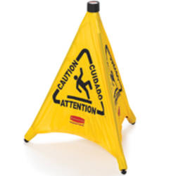 "Pop-Up Safety Cone, 20"" with Multi-Lingual ""Caution"" Imprint and Wet Floor Symbol"