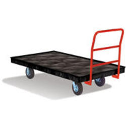 "Platform Truck, Crossbar Handle, 6"" Rubber Casters"