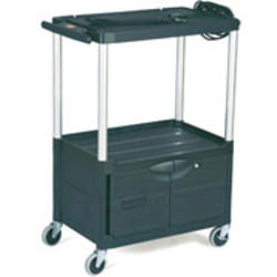 """Audio-Visual Cart, 3 Shelves with Cabinet, 4"""" Diameter Casters"""