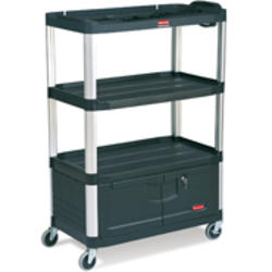 "Audio-Visual Cart, 4 Shelves with Cabinet, 4"" Diameter Casters"