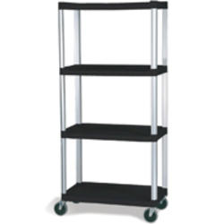 "Mobile Shelf Truck, 4-Shelf Mobile Truck with 5"" Diameter Casters, 2 with Locks"