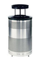 Drop Top Trash Container w/Levelers & Weather Shield