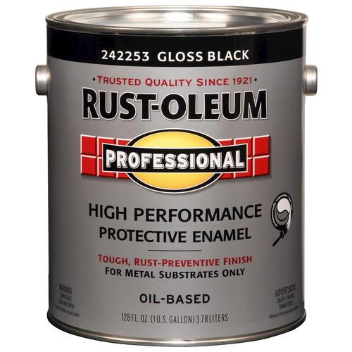 Rust Oleum Pro Gloss Black High Performance Enamel For Metal 1 Gal At Menards