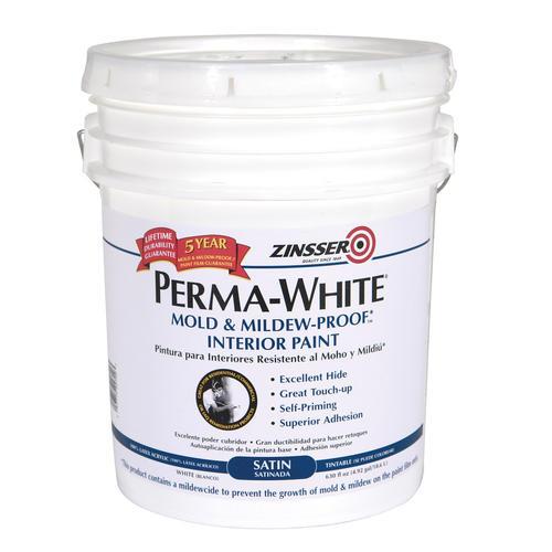 Perma White Satin Interior Paint 5 Gal At Menards