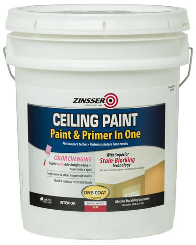 Zinsser Flat Bright White Ceiling Paint And Primer  Gal