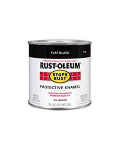 Rust Oleum Stops Rust Flat Black Protective Enamel 1 2 Pt At Menards