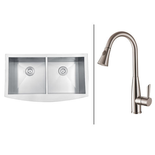 Ruvati RVC2460 Stainless Steel Kitchen Sink and Stainless Steel Faucet ...