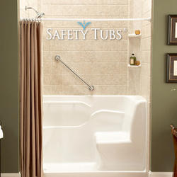 "Safety Tubs® Acrylic Seated Shower, 60"" x 30"" x 37"", Left-Side Drain"