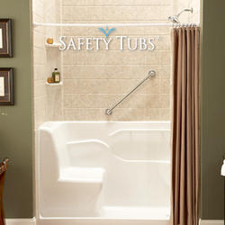 "Safety Tubs® Acrylic Seated Shower, 60"" x 30"" x 37"", Right-Side Drain"