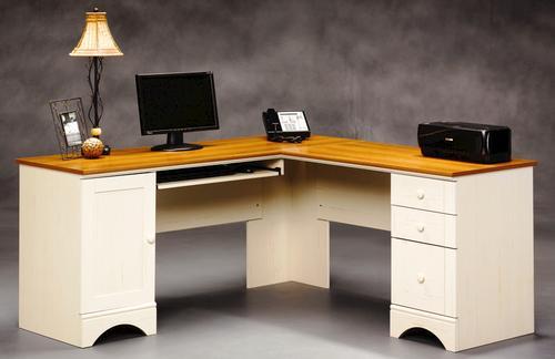 Sauder Harbor View Antique White Corner Computer Desk At