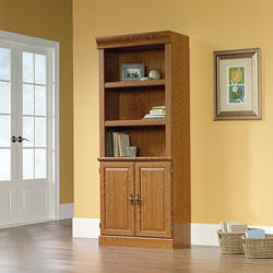 Sauder Orchard Hills Carolina Oak Library Bookcase with Doors