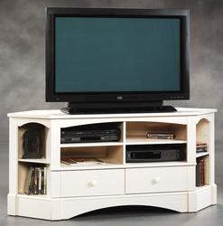 Sauder Harbor View Antiqued White Base Corner Entertainment Credenza