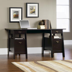 Sauder Shoal Creek Jamocha Wood Executive Trestle Desk